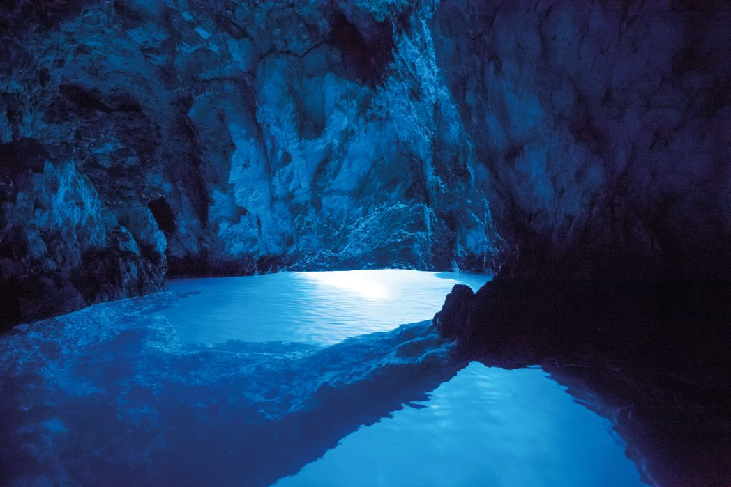 The magical Blue Cave of Bisevo on the Dalmatian Coast