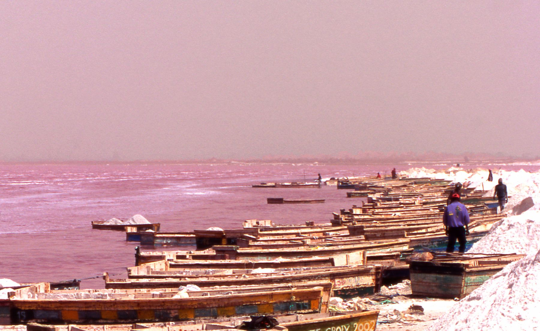 Boats and people working on pink Lake Retba's shores in Senegal