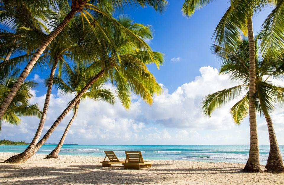 beach chairs on a beach in Punta Cana