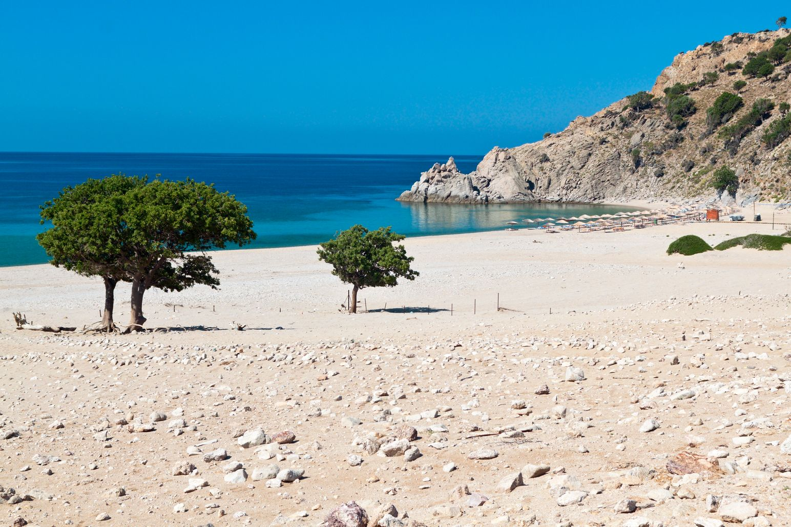 Calm beach with two trees, Samothraki - best Greek islands in summer