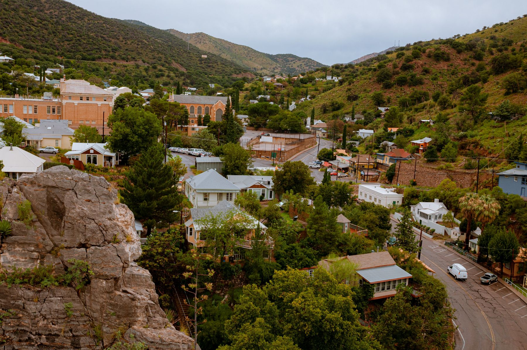 Hilltop view of building and streets in small town Bisbee, Arizona
