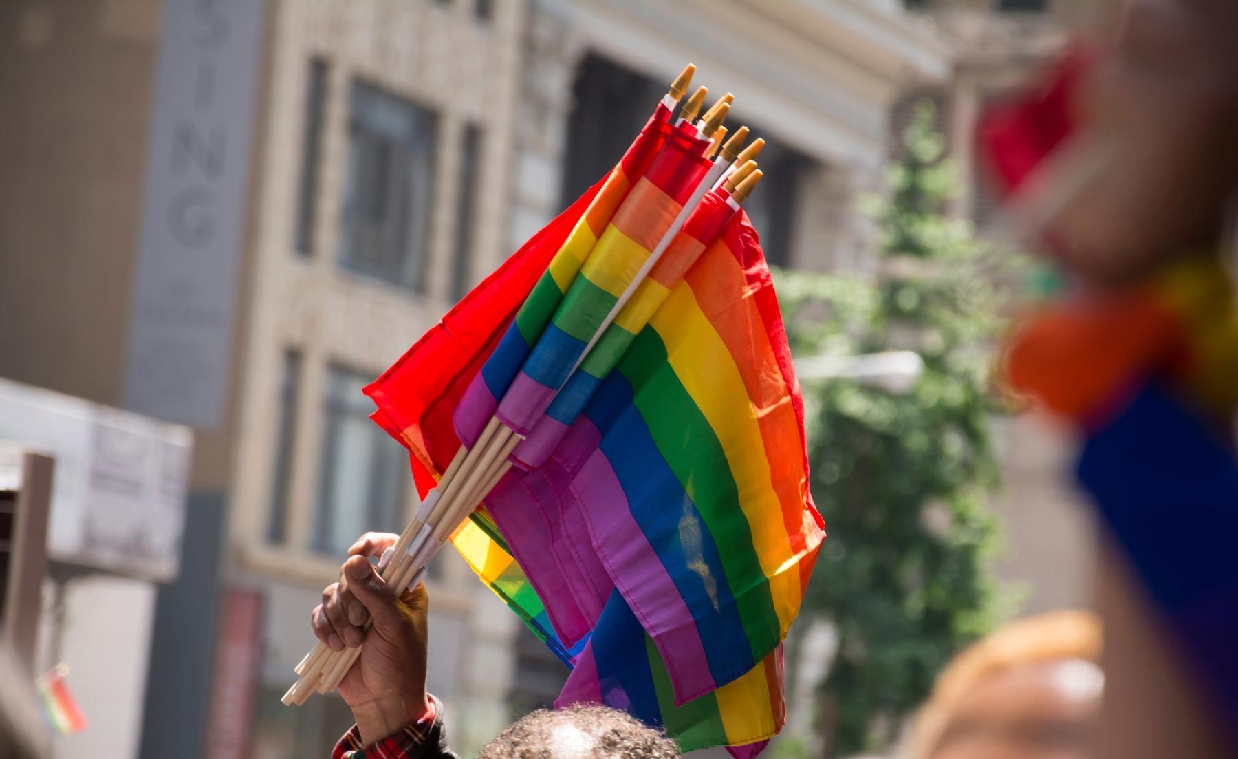 Pride flags being held.