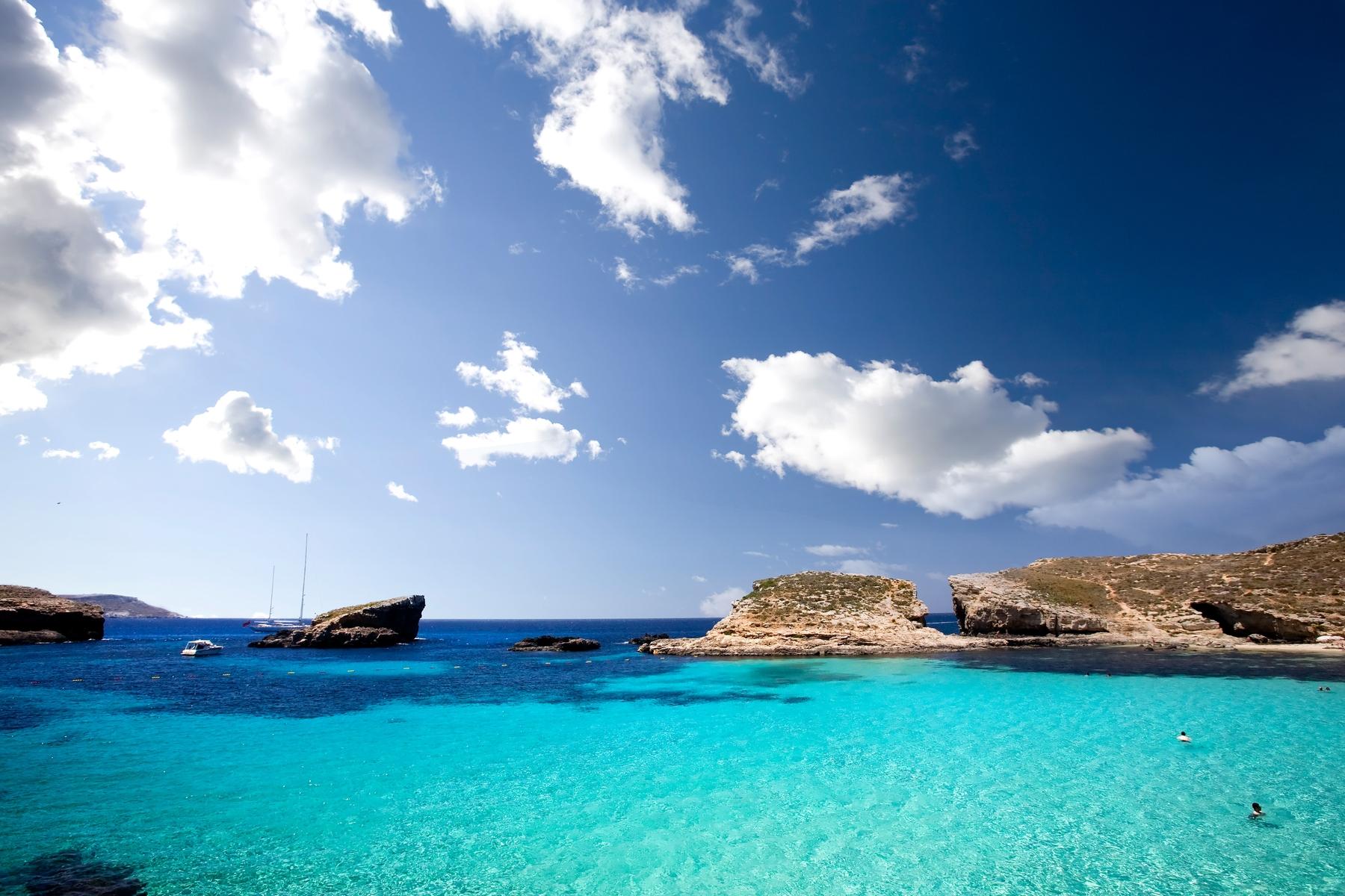 The clear ocean water in Malta
