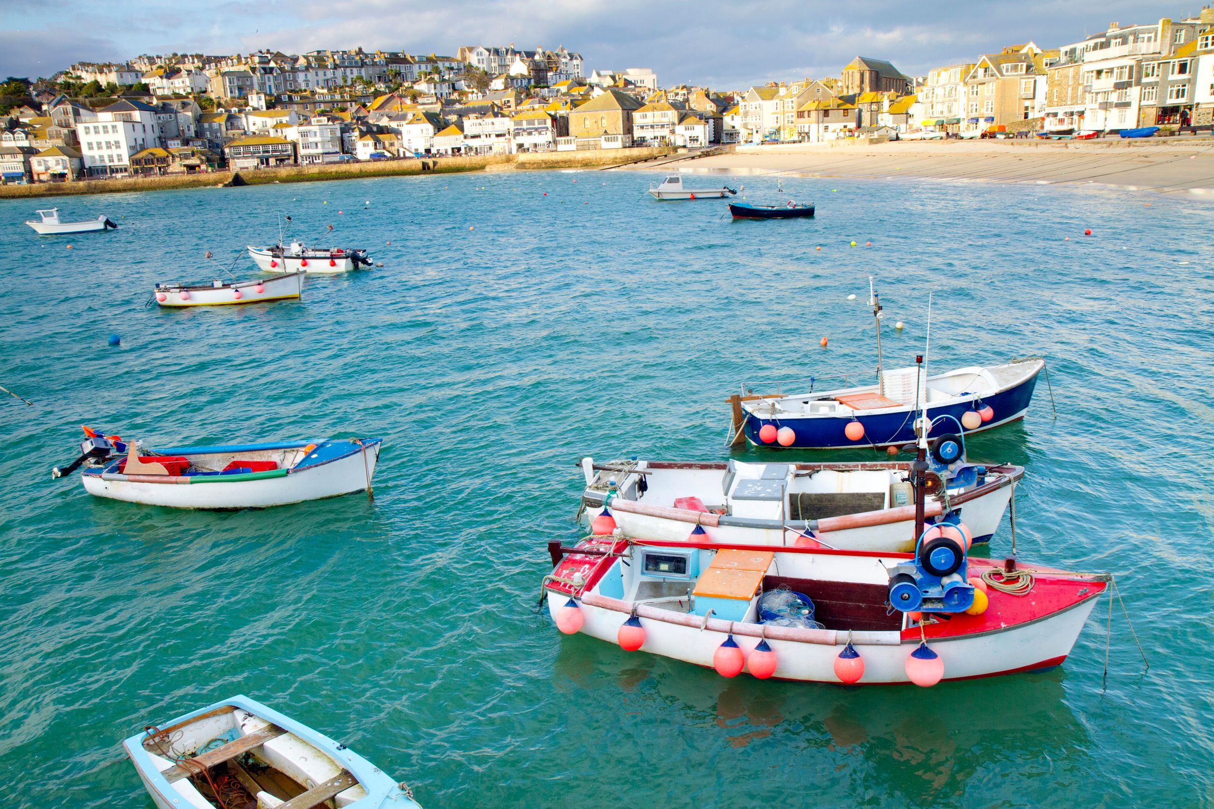 Colourful boats in St. Ives Bay, Cornwall