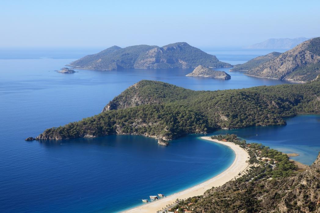 Panorama of the Oludeniz beach and Blue Lagoon, Dalaman, Turkey