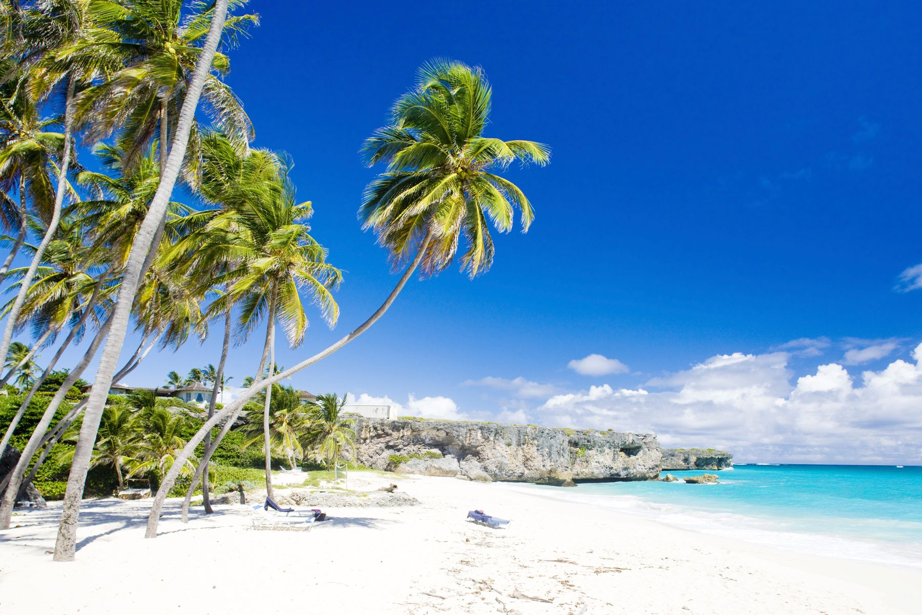 White sand beach in Barbados, with palm trees on one side and turquoise waters on the other.