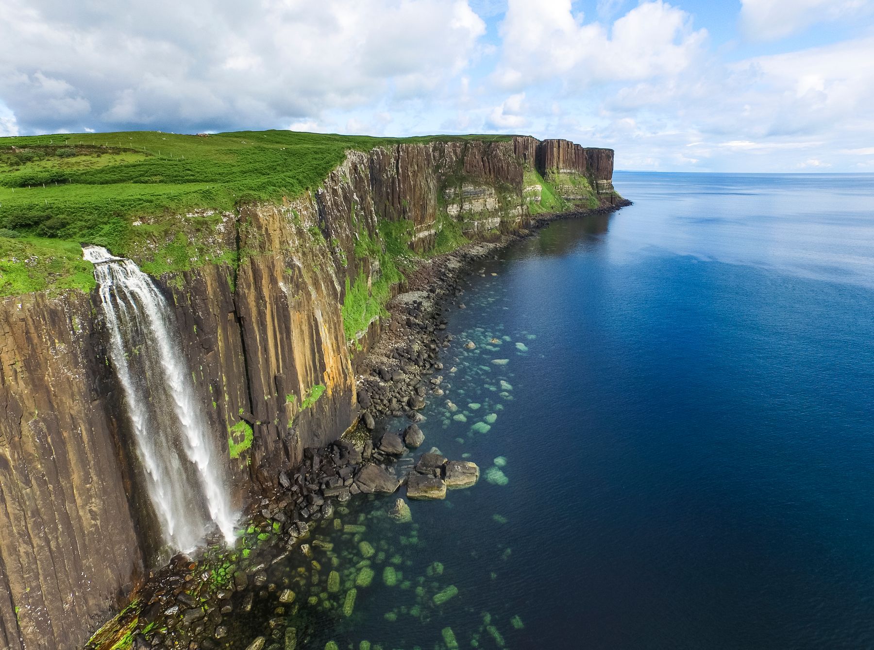 Beautiful Mealt Falls waterfalls and Kilt Rock in the background, Isle of Skye, Scotland