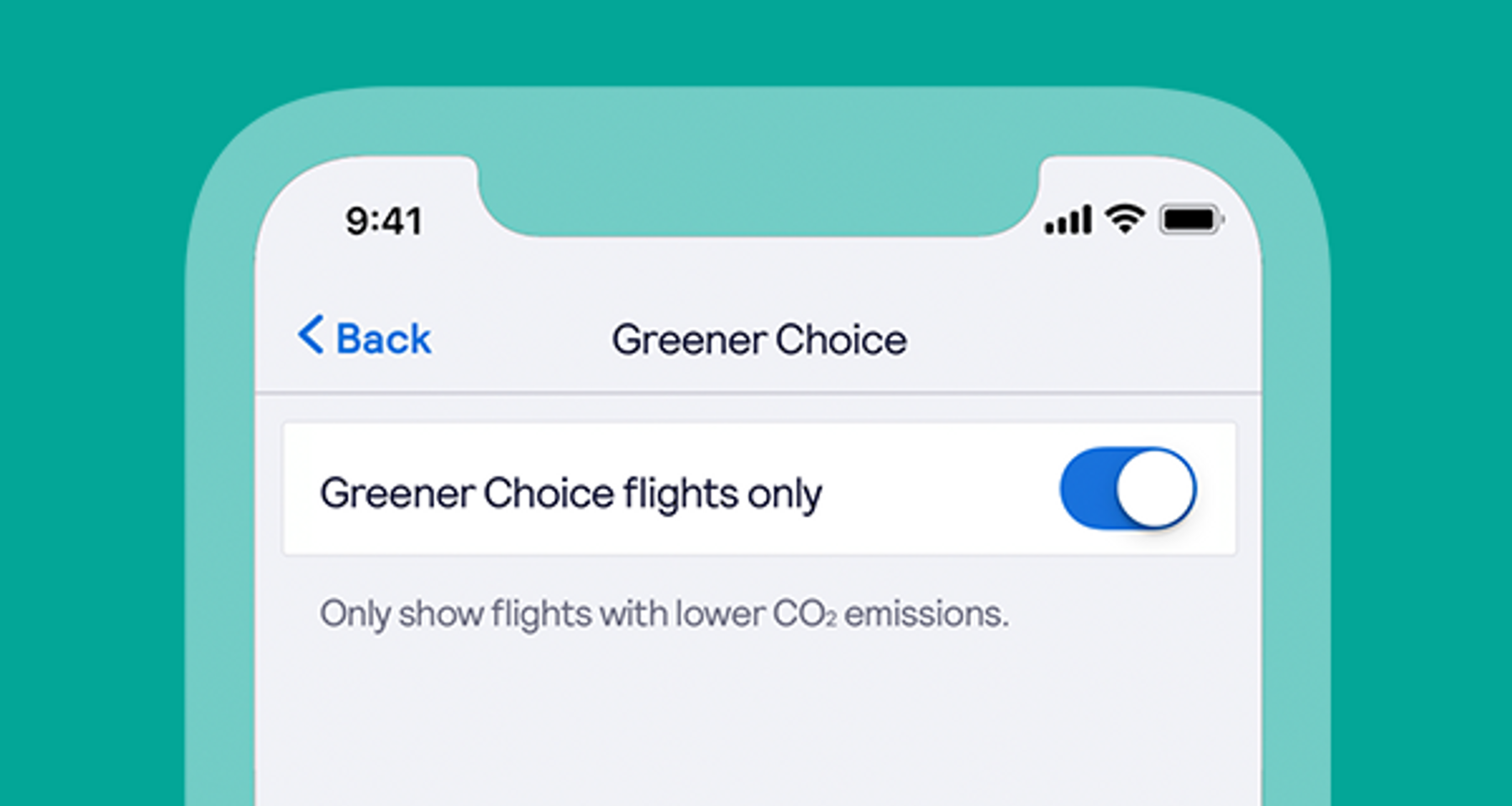 Choose greener choice flights on the app