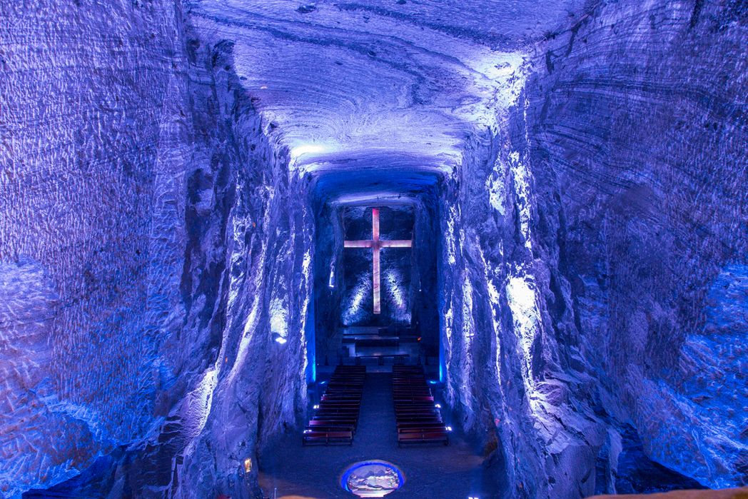 Cross in stone hallway at Underground Salt Cathedral ( Catedral de Sal de Zipaquira)