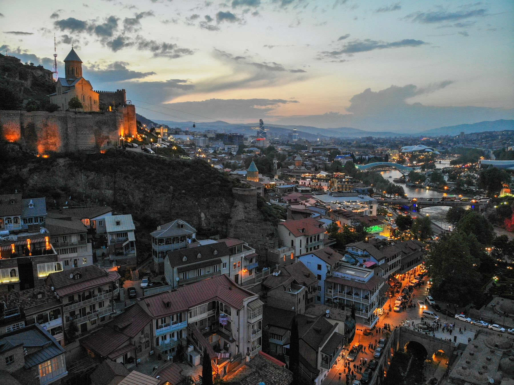 cityview by evening in tbilisi georgia