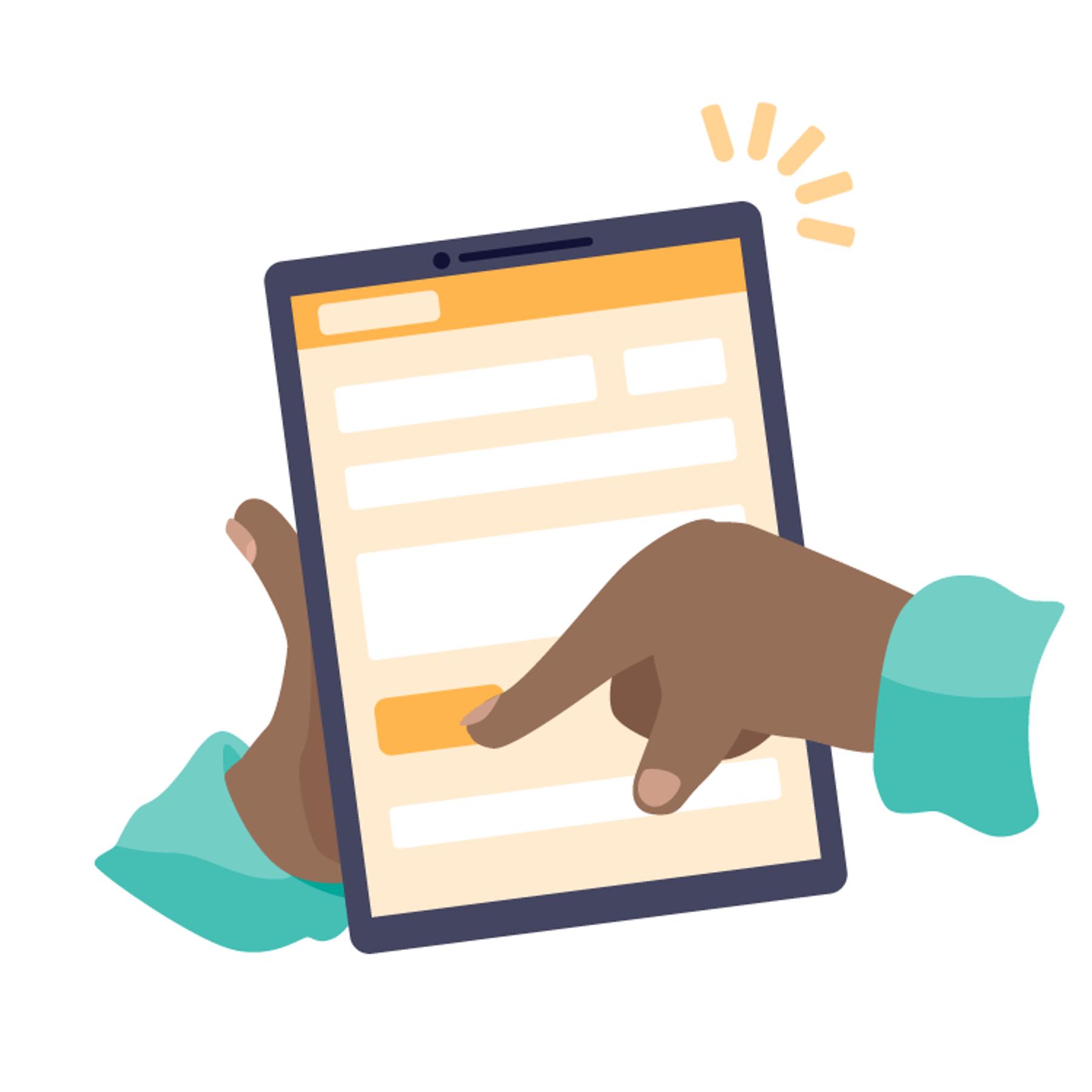 Een illustratie van een hand die een knop op een tablet selecteert.