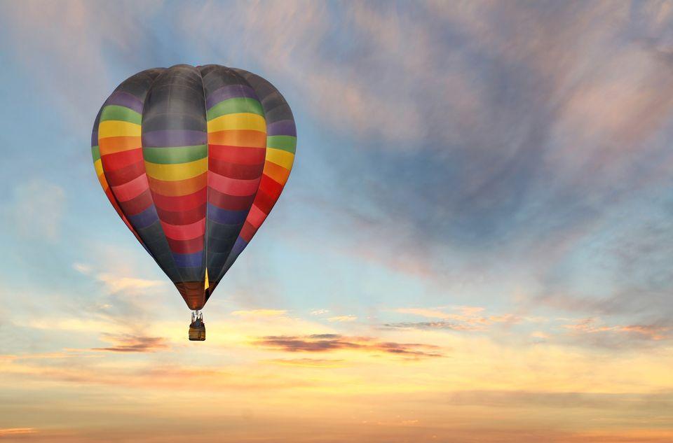 Romantisch uitje in een luchtballon