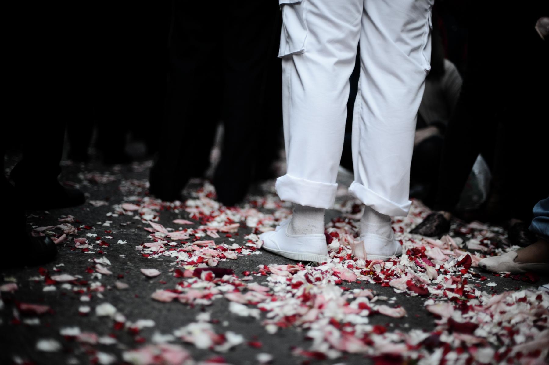 Alfombra de pétalos de flores tras el paso de la Virgen © Bisual Studio