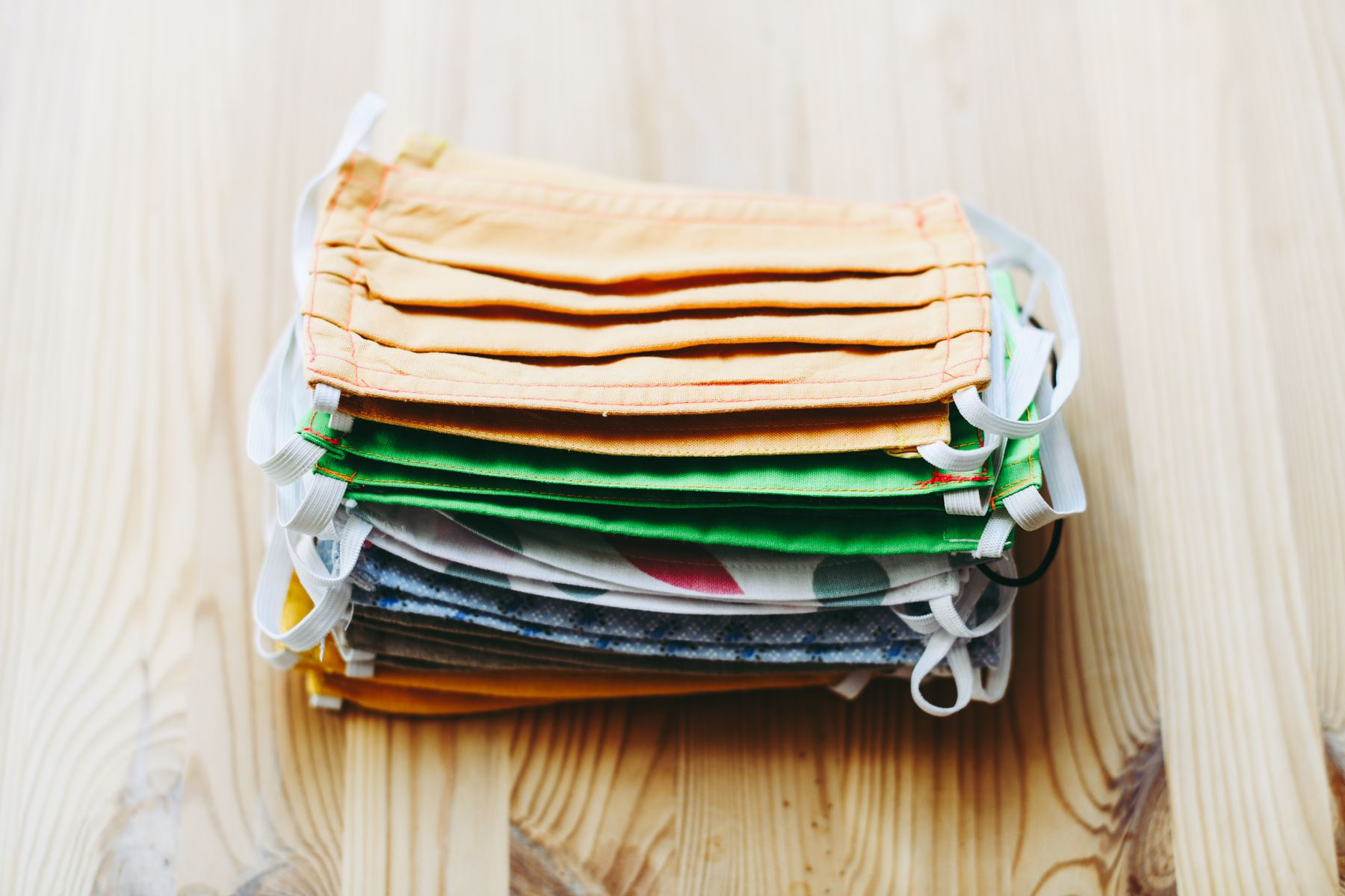 a stack of face masks