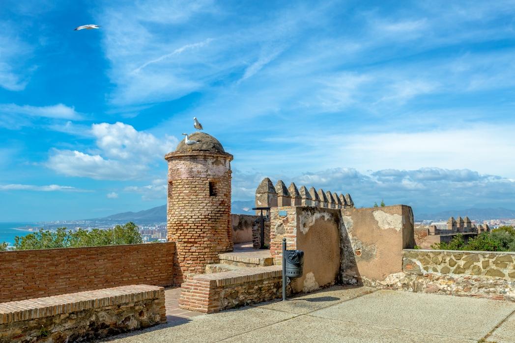The walls of the Castillo de Gibralfaro or Alcazar, a Spanish fortress, in Malaga city, Andalusia.