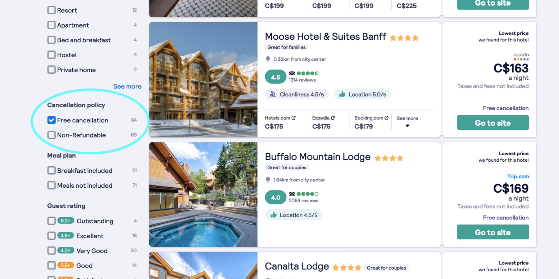 screenshot of skyscanner hotel booking page. Book hotels with free cancellation for a successful staycation this year.