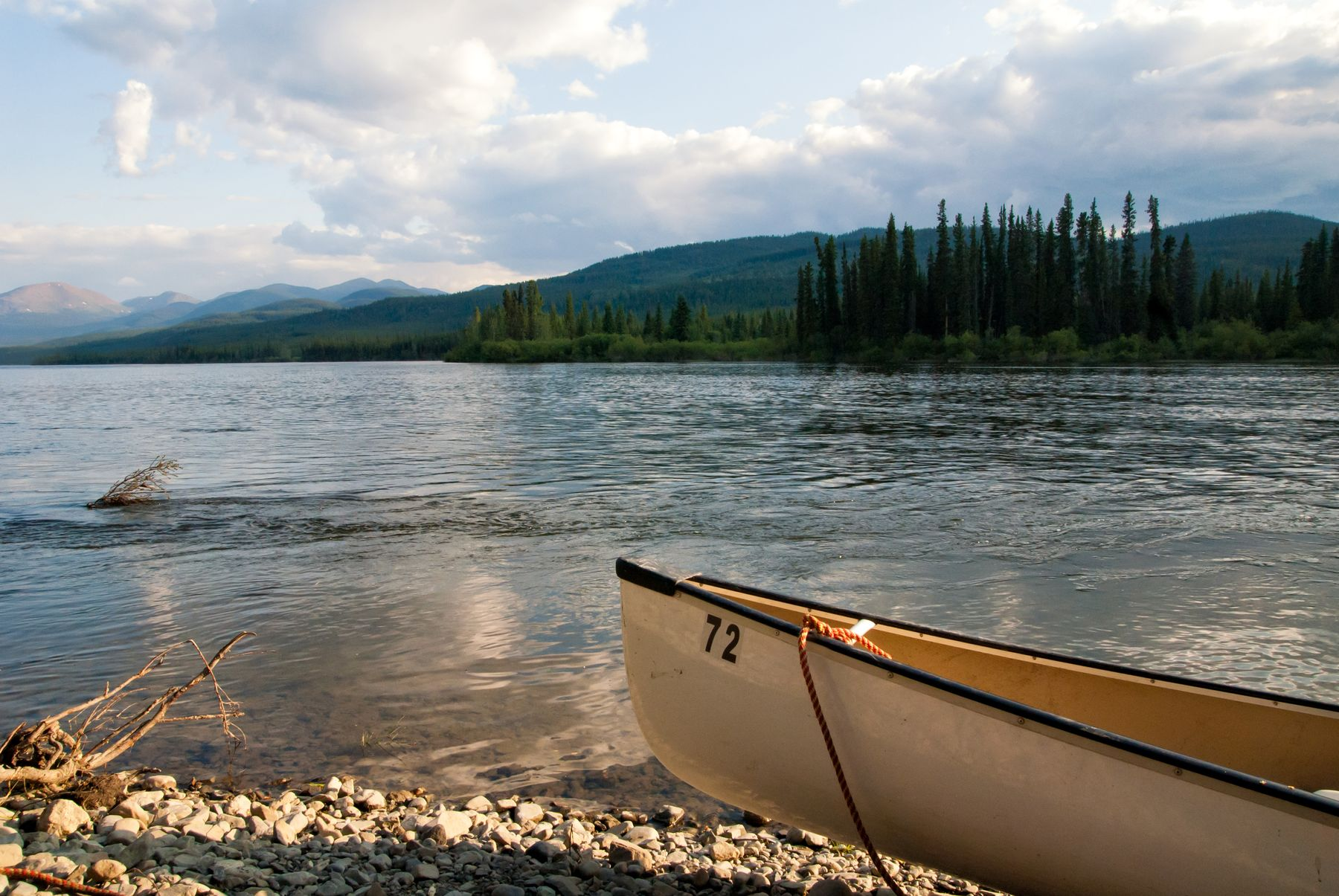 a canoe on the Yukon River