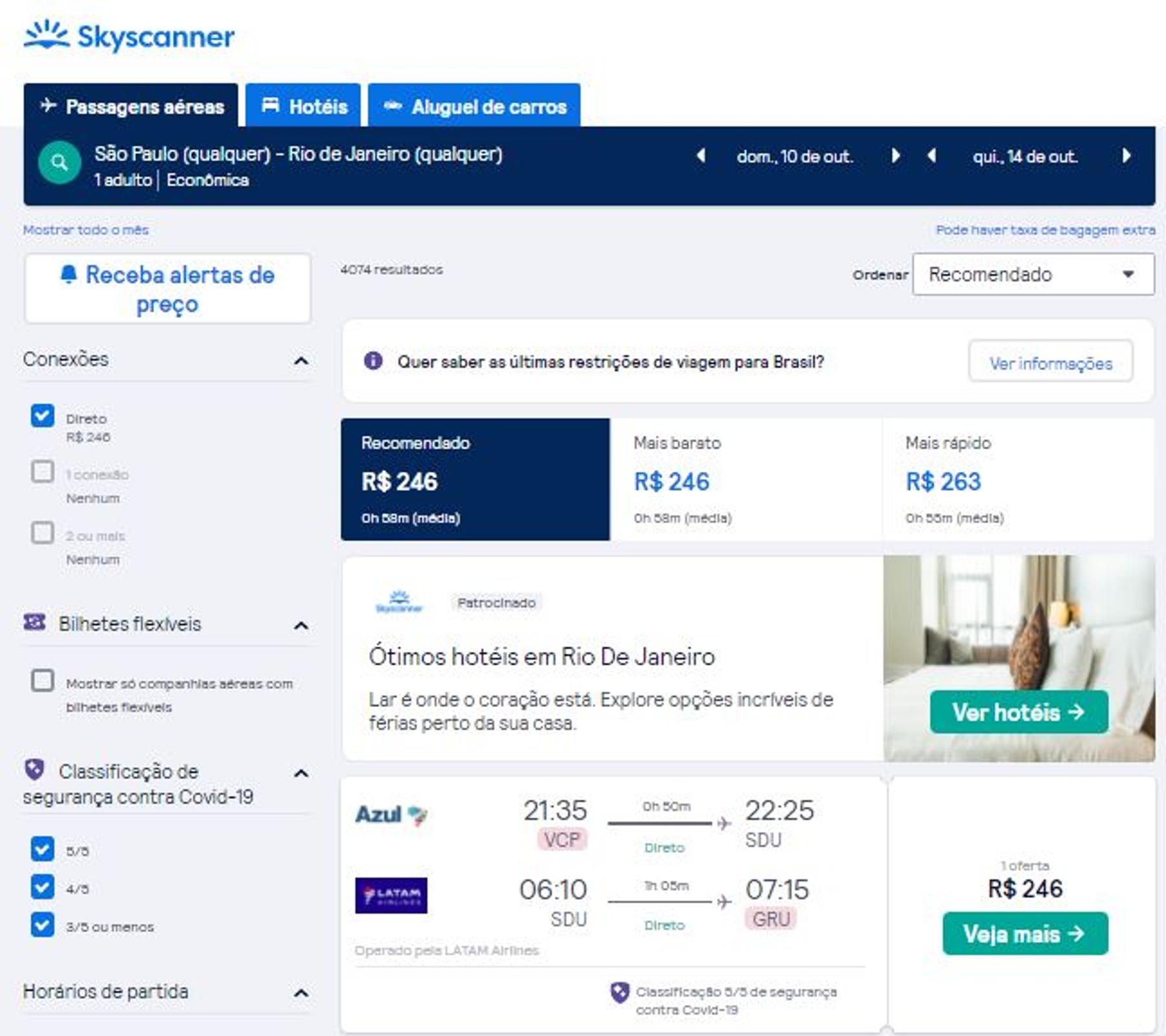 Resultado das buscas no site Skyscanner para passagens aéreas em promoção relâmpago