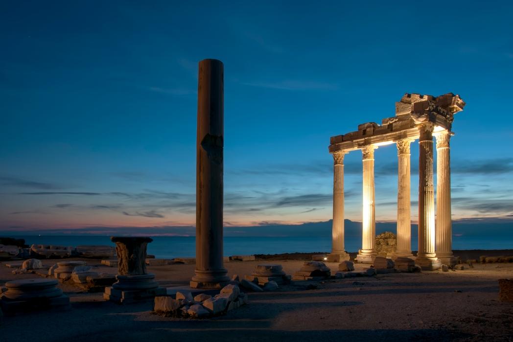The Temple Of Apollo illuminated at night, Side, Antalya Province